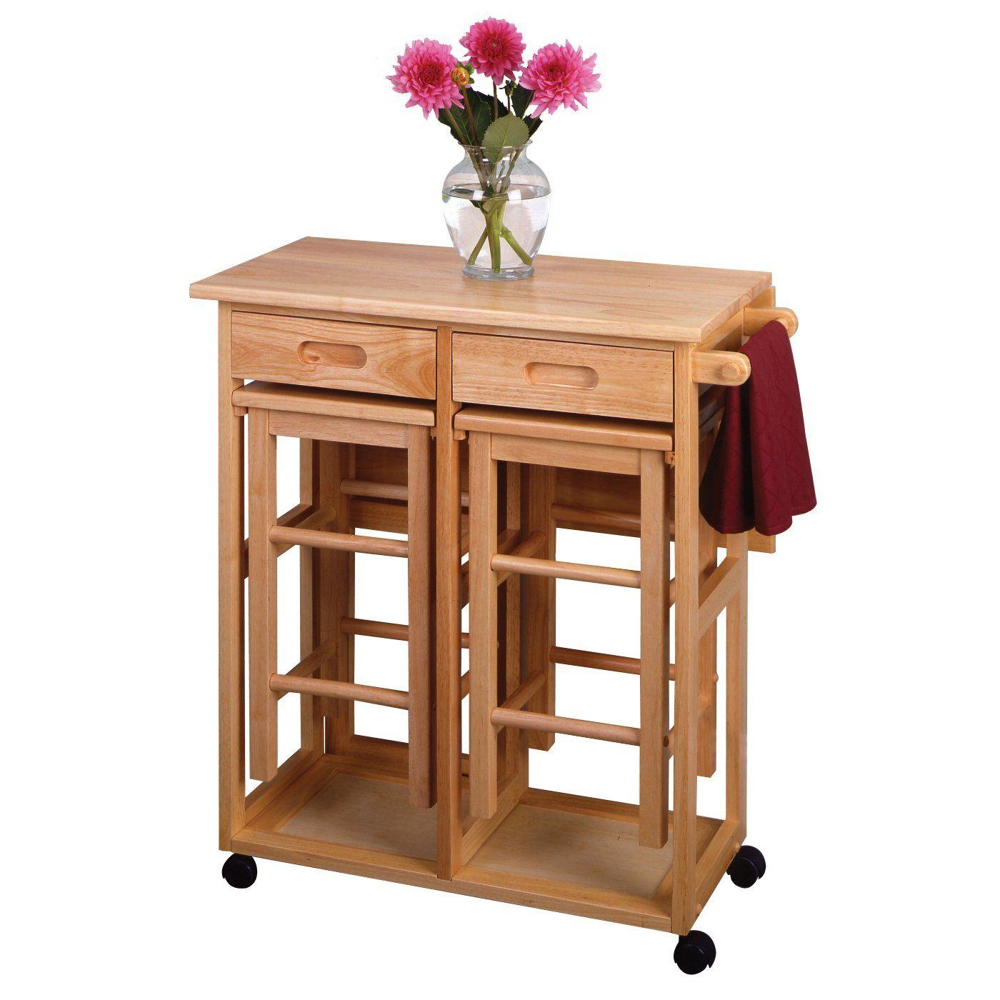 Collapsible Kitchen Table And Chairs Shop Winsome Wood 89330 Space Saver  Drop Leaf Kitchen Cart With