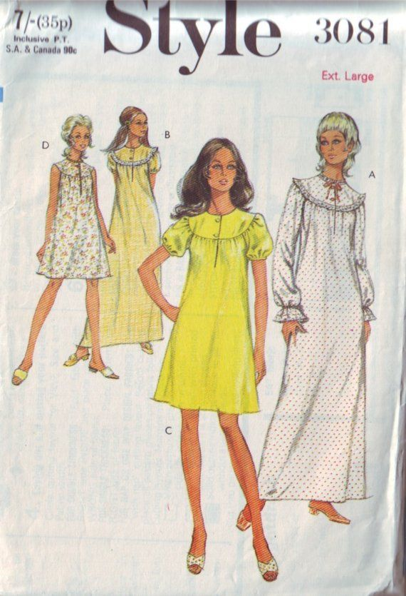 a0c92250b8 style 3081, vintage 70s night dress short or long gown pattern, size ...