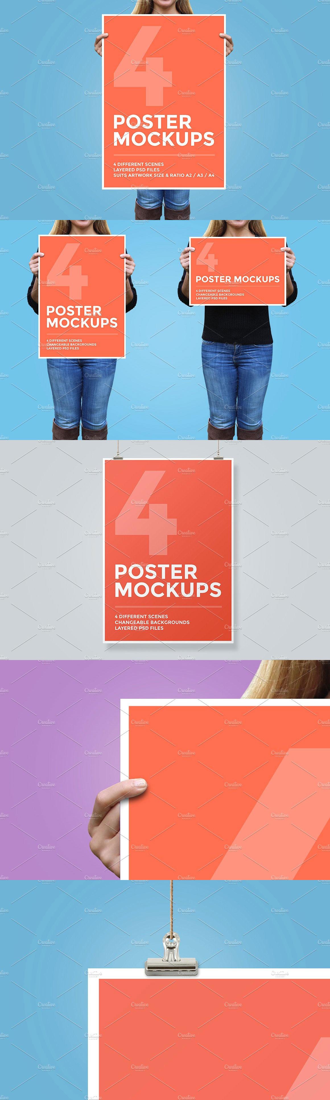 4 Poster Mockup Bundle Poster Mockup Poster Design Template Site