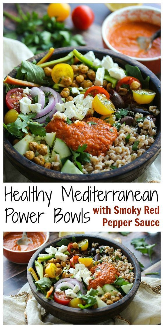 Mediterranean Power Bowls with Smoky Red Pepper Sauce  #bowls #mediterranean #pepper #power #sauce #...