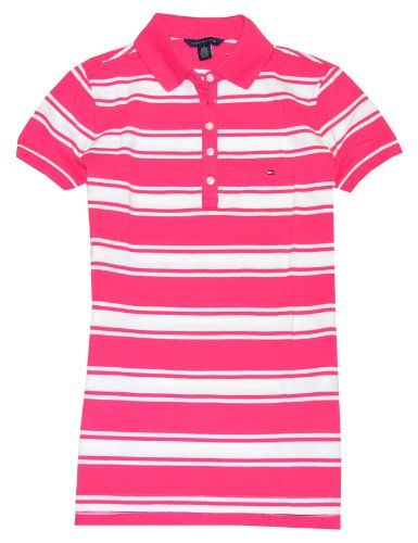 Tommy Hilfiger Women Slim Fit Striped Logo Polo T-shirt for $54.90