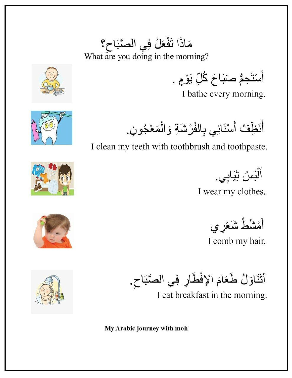 What Are You Doing In The Morning Arabic Alphabet For Kids Arabic Conversation Learn English Words