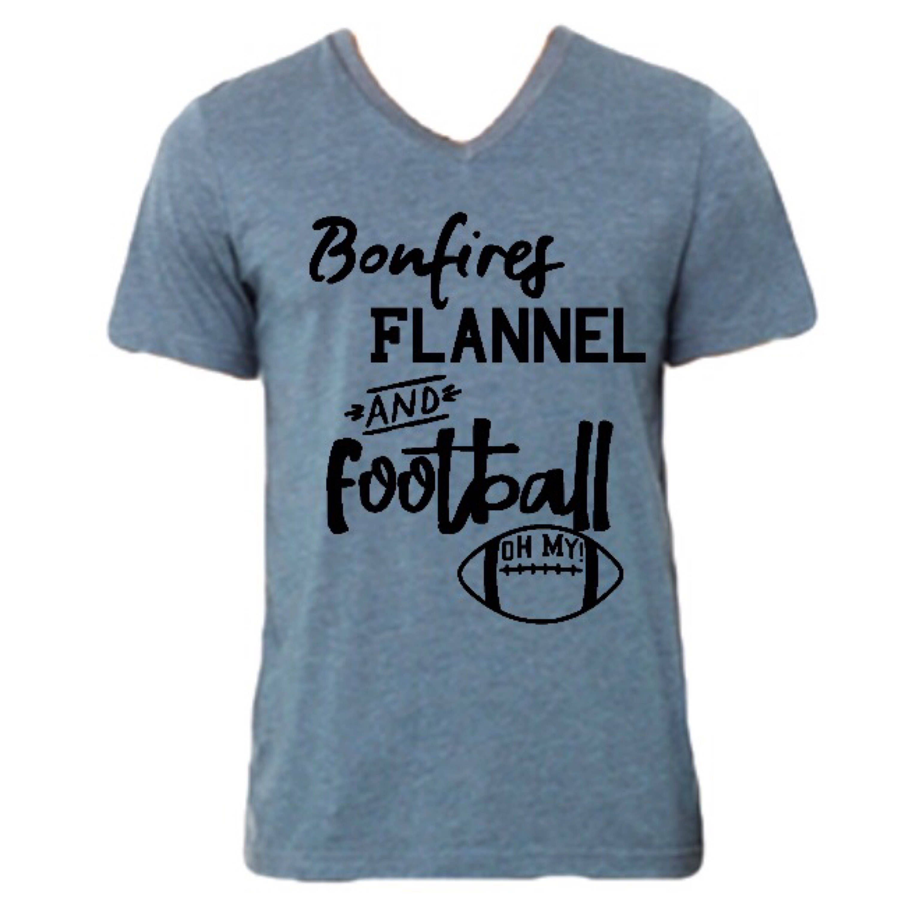 Flannel t shirts  BONFIRES FLANNEL AND FOOTBALL OH MY womenus shirt From Mama  Joey
