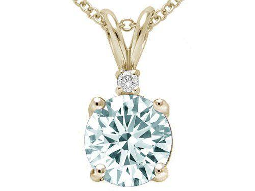 Amazon.com: Tommaso Design Round 7mm Genuine Aquamarine and Diamond Pendant 14k: Pendant Necklaces: Clothing
