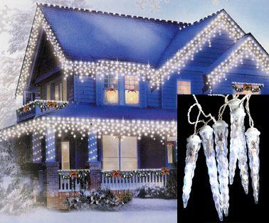 Set Of 8 Led Clear White Dripping Icicle Shape Christmas