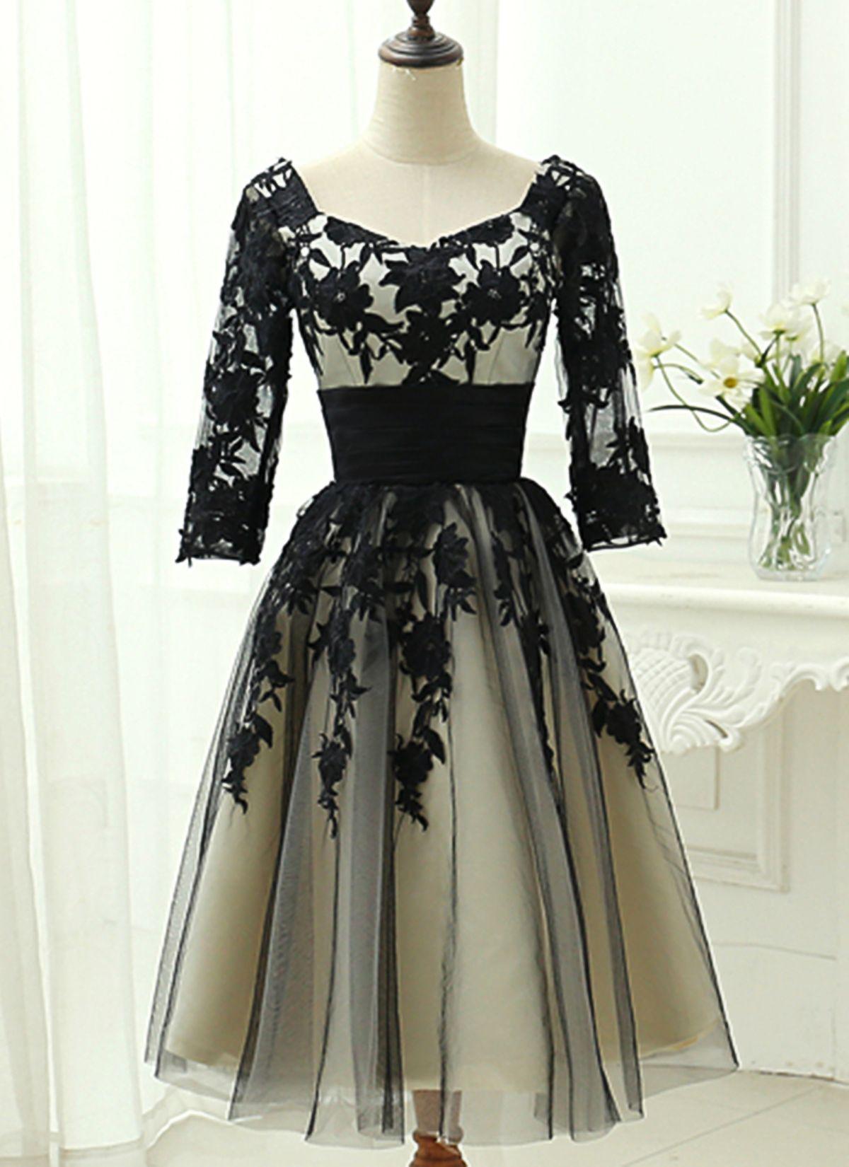 Black Lace Mid Sleeve Mid Length A Line Prom Dress Party Dress Tea Length Bridesmaid Dresses Party Dress Dresses [ 1650 x 1200 Pixel ]
