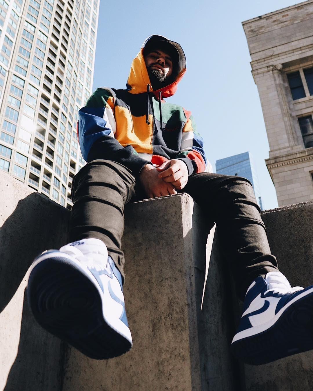 Qias Omar in Supreme Patchwork Hoodie /// Air Jordan 1