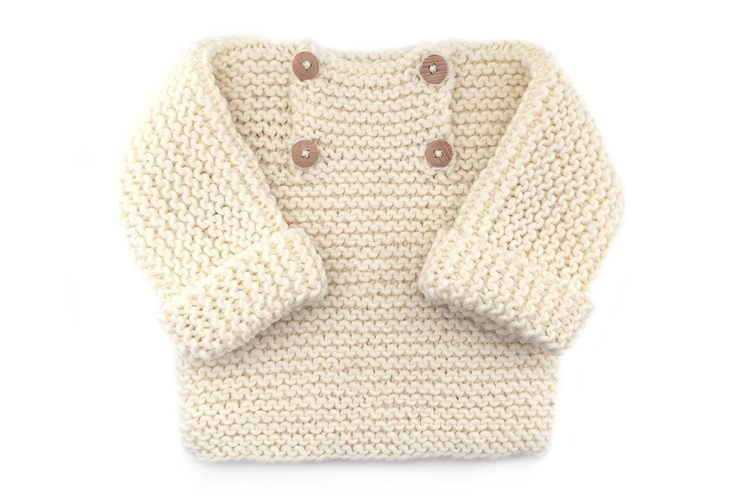 Baby Sweater knitted with GARTER stitch- [ EASY Pattern & Tutorial ...