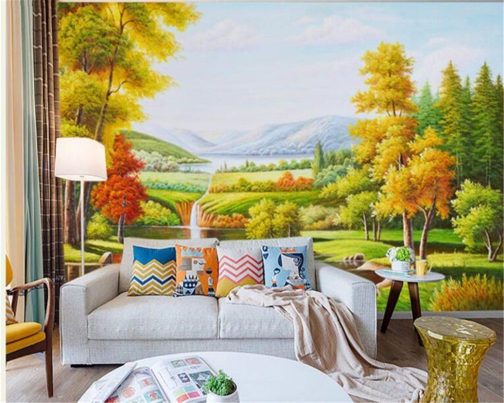 Lqwx Custom Wallpaper Purely Hand Painted Natural Forest Beauty ...