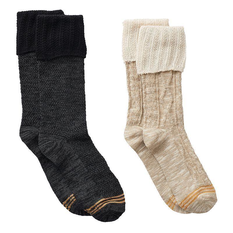 Girls GOLDTOE 2-pk. Cable Lace Boot Socks, Girl's, Size: 9-11, Black