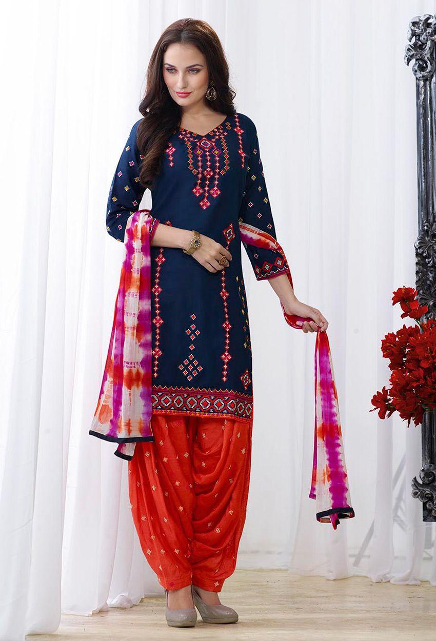 d7e6f452cb Navy Blue And Orange Pure Cotton Patiala Suit #patiala #suit #cotton  #patialasuit Item Code-skblv131 Price-US$48.19