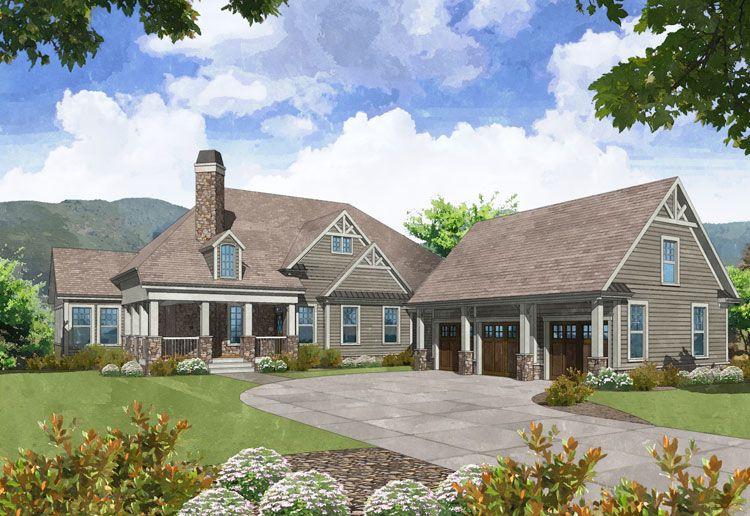 Highlander Front Elevation Craftsman House Plans Craftsman House Lake Front House Plans