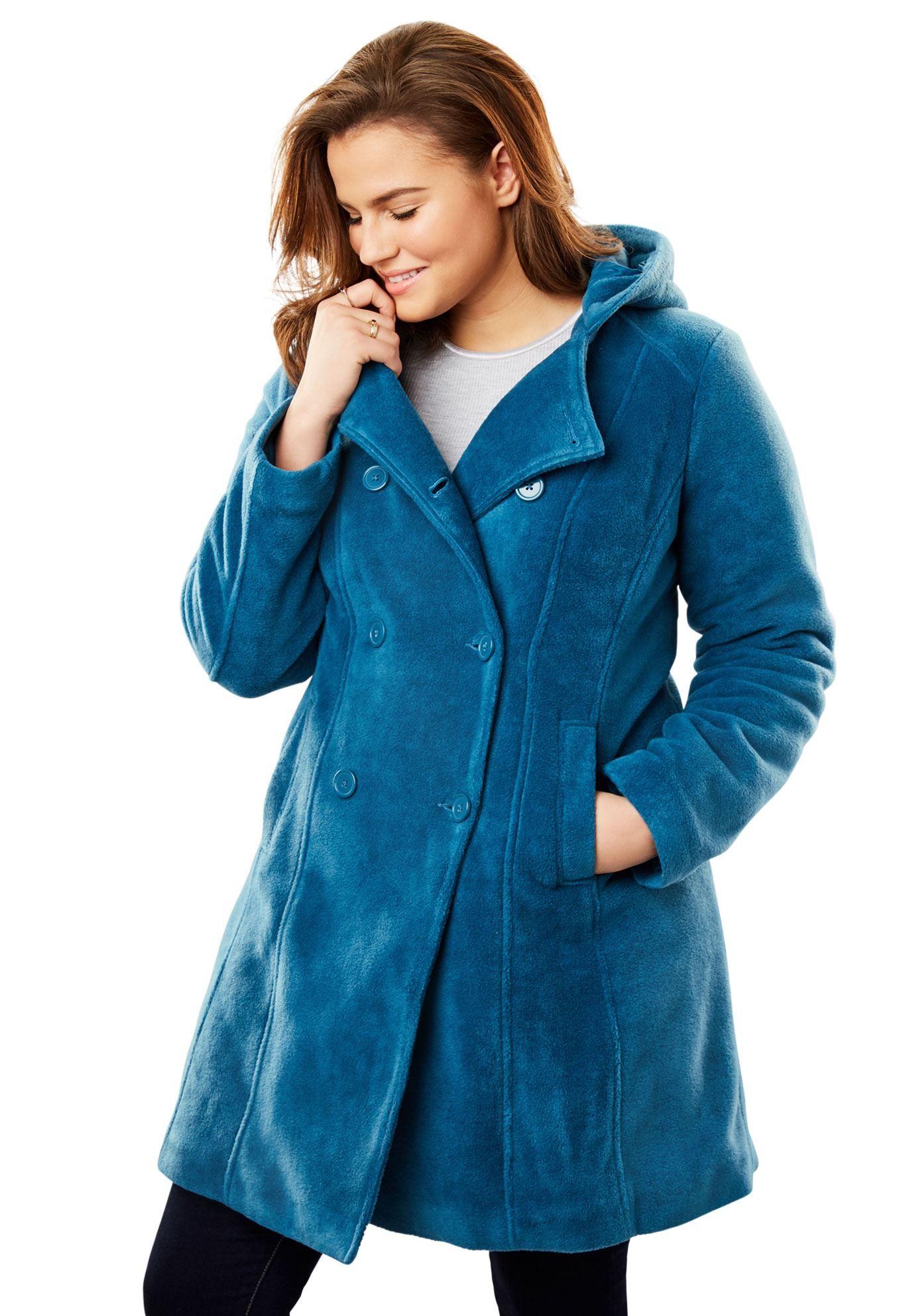 Hooded Fleece Pea Coat Women S Plus Size Clothing Woolcoatplussize Plus Size Coats Coats For Women Pea Coats Women [ 1986 x 1380 Pixel ]