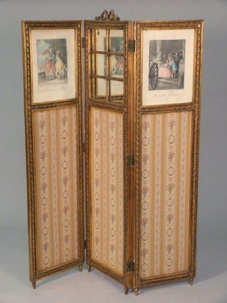 Louis Xvi Style 3 Panel Dressing Screen Gilt Carved Wood