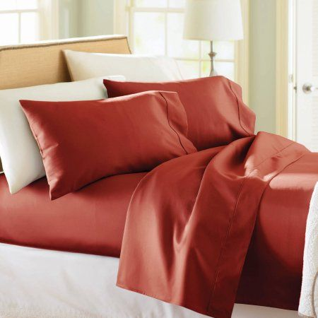 Better Homes And Gardens 350 Thread Count Hygro Cotton Performance Sheet  Set, Rusty Brick   Walmart.com