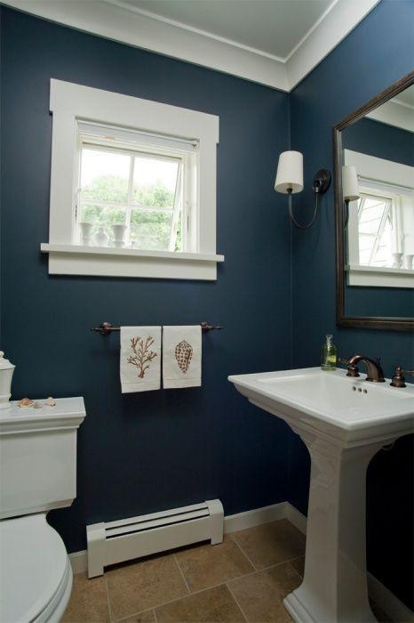 Interior Dark Blue Bathroom image result for bathrooms with beadboard navy and white coastal home seaside bathroom pedestal sink nautical hand towels custom trim single arm sconce drum shade navy