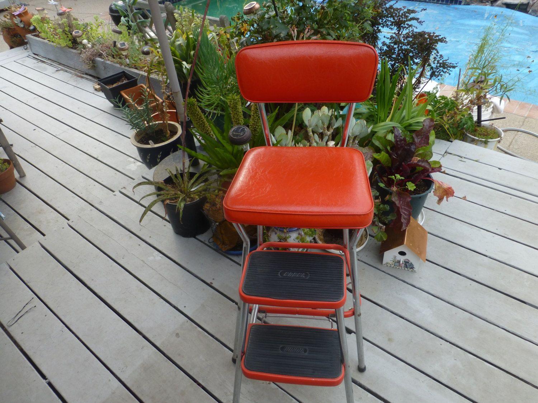 Cosco 79 1960s red vinyl kitchen step stool kitchen