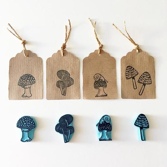 Mushrooms Rubber Stamps, Autumn Decoration, Hand carved stamp, CassaStamps #rubberstamping