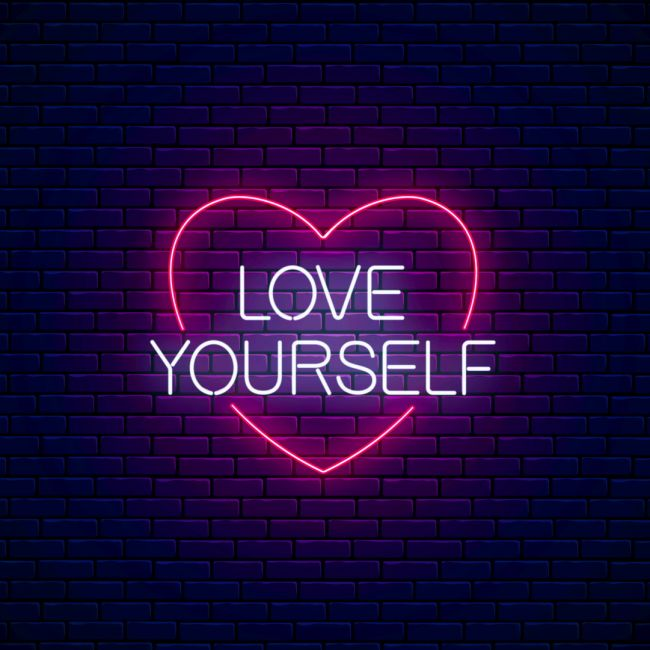 Love Yourself In Heart Led Neon Sign Neon Signs Neon Words Neon Quotes