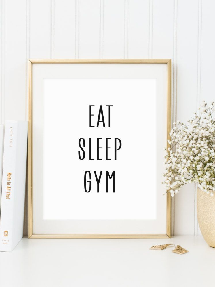 Eat sleep gym print instant printable file gym quote workout