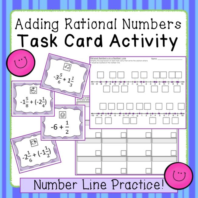 Rational Number Addition Task Card Activity Middle