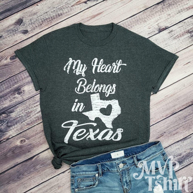 My Heart Belongs in Texas Shirt, Texas Heart Shirt, TX Shirt, Texas graphic tees, Texas Pride, Texas shirt