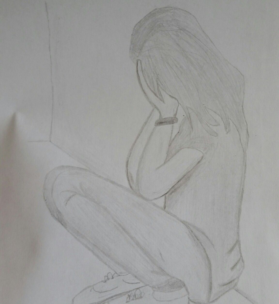 Girl alone and crying draw lonely girl