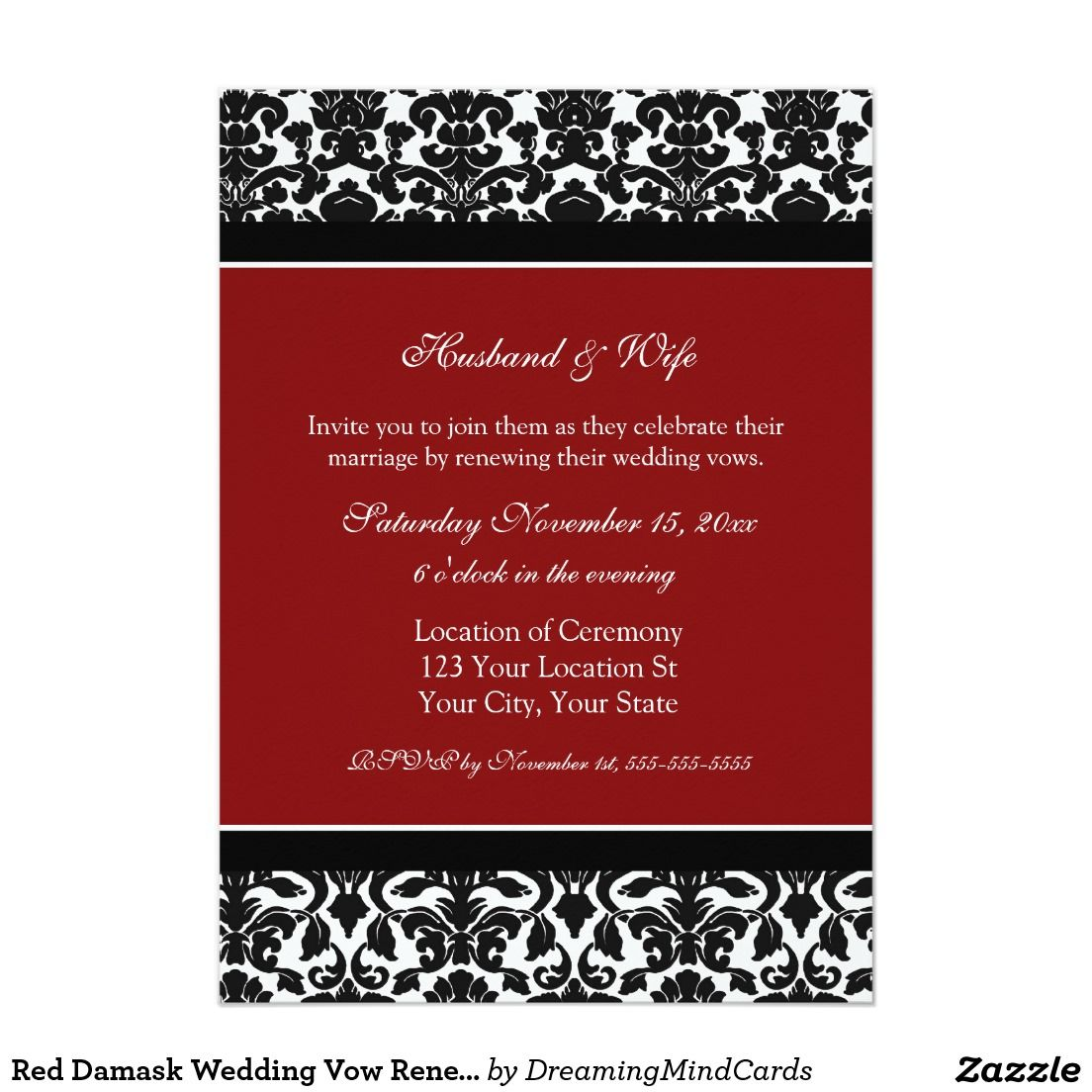 Red Damask Wedding Vow Renewal Invitations | Invitations/Stationary ...