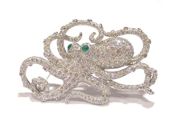 Brooch Octopus diamond Brooches Diamond and Jewel