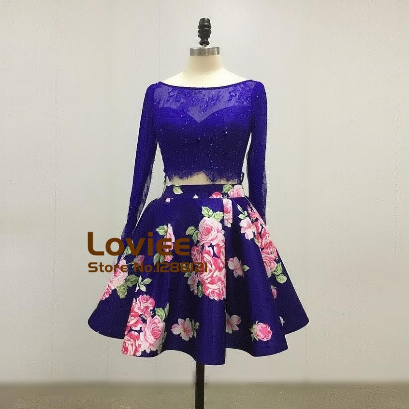 Real Pictures Short Lace Prom Dresses 2017 Long Sleeve Pattern 2 ...