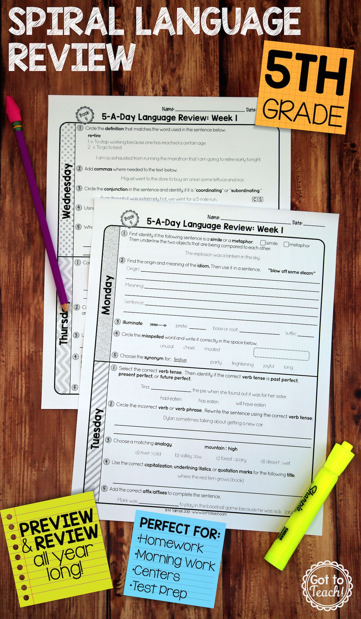 36 Weeks Of Daily Common Core Language Review For Fifth Grade Preview And Important