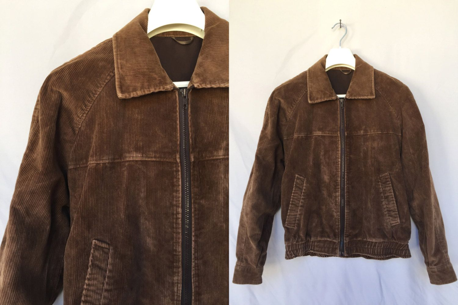 32f7f17371e8 80 s dark brown bomber Velvet Jacket made in Yugoslavia zip up 1980  Corduroy Man Jacket Cotton Blend Ribbed Velvet Jacket Size L Large by  RosaBoutiqueStudio ...