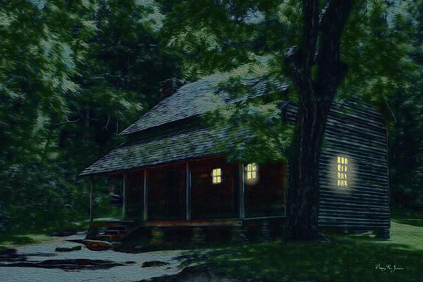 Old settlers residence in the smoky mountains: Early settlers to the Smoky Mountain portion of the Appalachian Mountains in East Tennessee, built by hand and lived in homes such as the one depicted. It was a rough life, but the peaceful seclusion made it worthwhile.