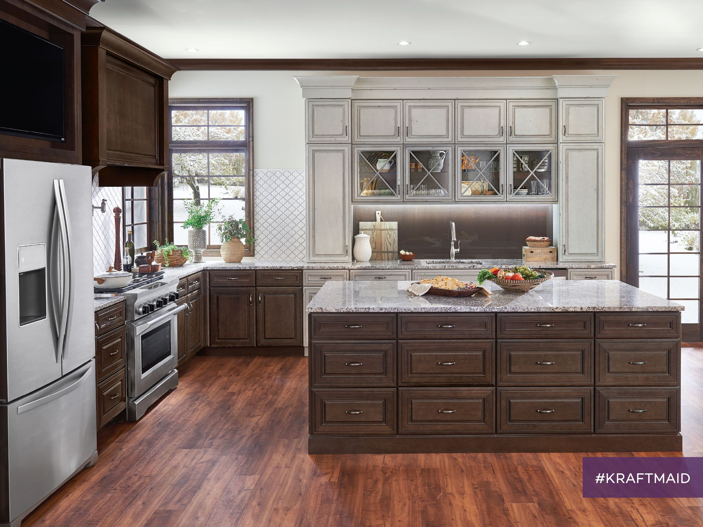 A Bigger Kitchen Island Means More Room For The Whole Family To Help This Island Features Kraftmaid Kitchens Kraftmaid Kitchen Cabinets Kitchen Cabinet Design