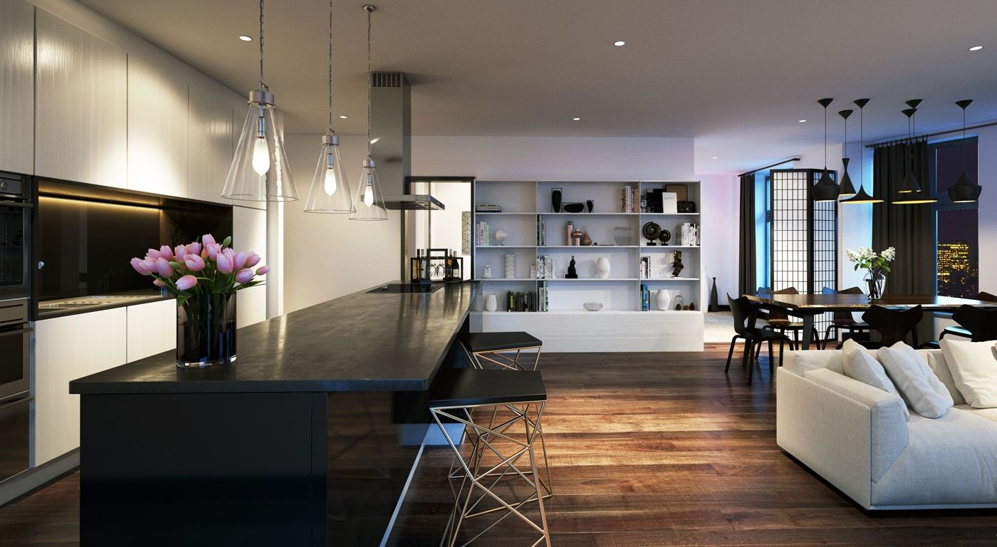 Hanway Gardens, Fitzrovia, West End, London, Galliard Homes, Frogmore, Land Securities, Interior, Apartment, Living area, kitchen area