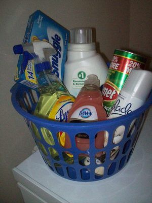 Household cleaning gift basket gift ideas pinterest household cleaning gift basket prize ideasraffle negle Images