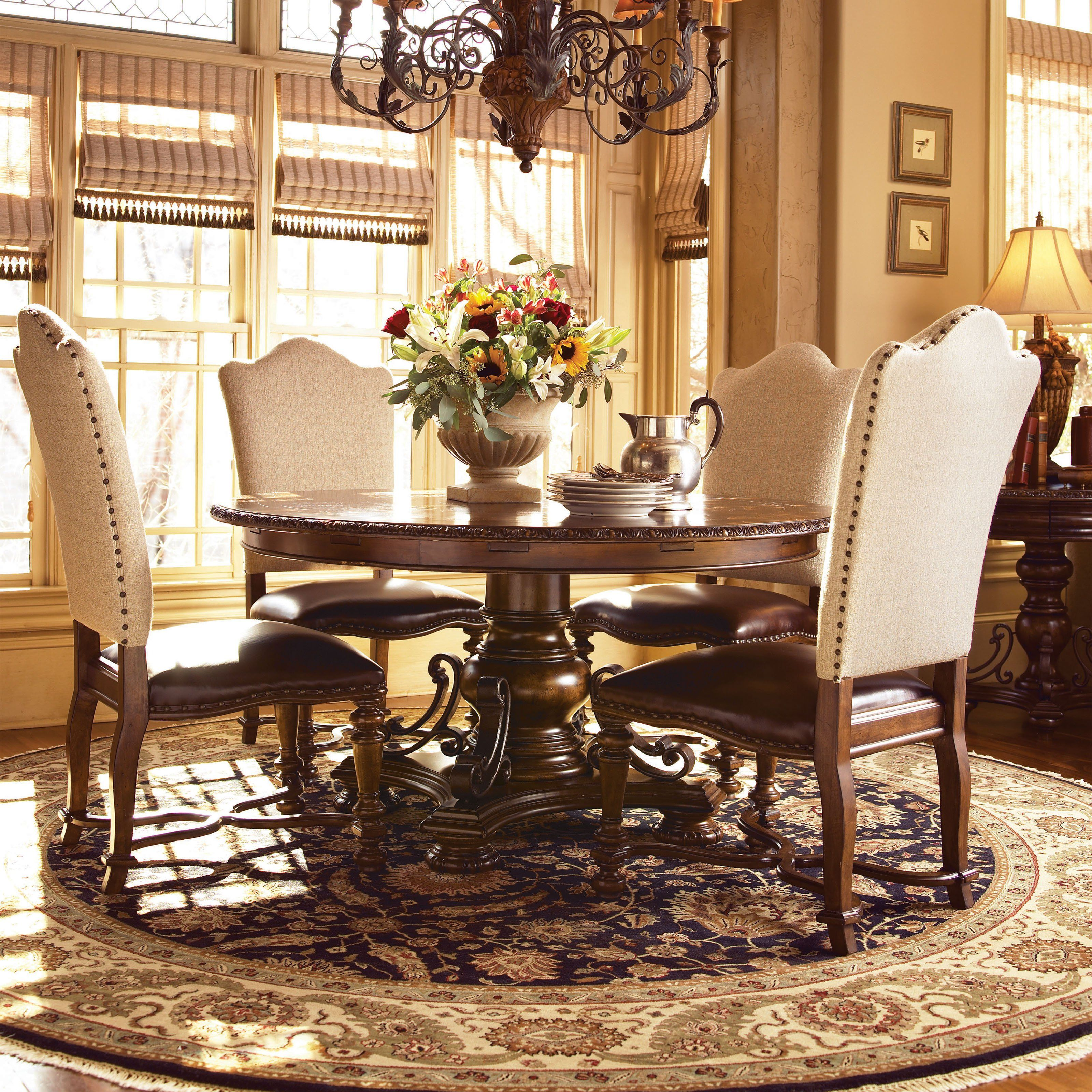 Universal Furniture Bolero Seville 5 Piece Dining Set With Leather Chairs Www Hayneedle Com Dining Table Universal Furniture Round Dining Set