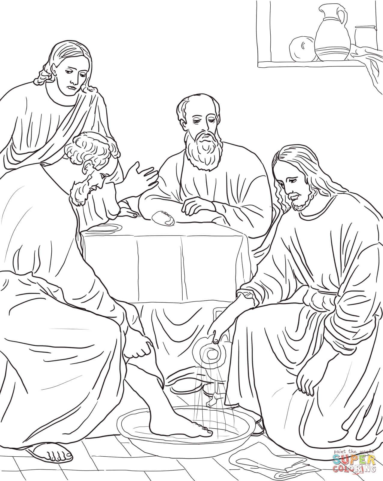 Jesus Washing The Disciples Feet Super Coloring Bible Coloring Pages Jesus Coloring Pages Sunday School Coloring Pages
