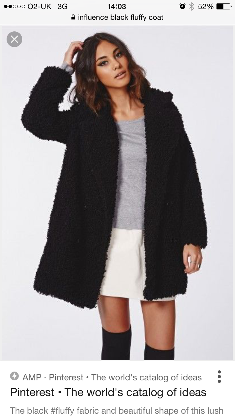 917591cb84 Black Fluffy Coat, Black Faux Fur Coat, Faux Fur Jacket, Black Coats,