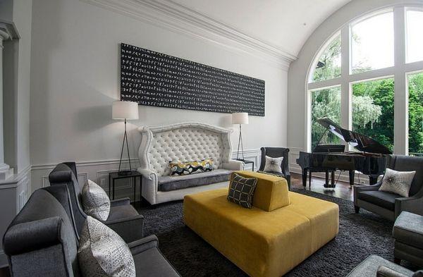Wohnzimmer Farbgestaltung U2013 Grau Und Gelb   Wohnzimmer Farbgestaltung Gelb  Gepolstert Sofa Angenehm Gemütlich