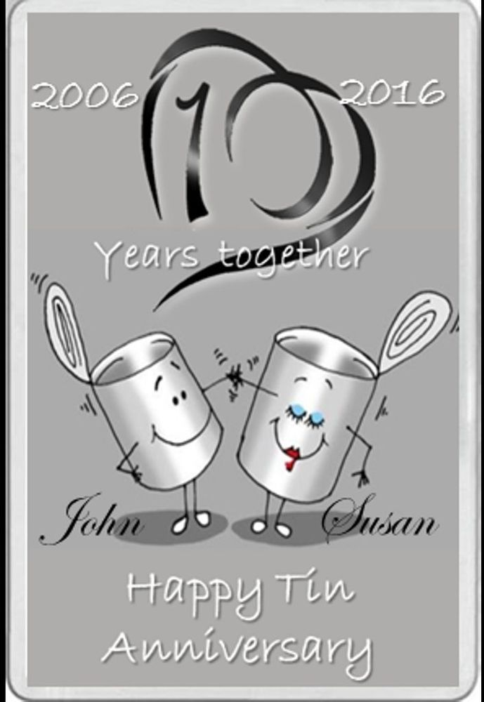 Fridge Magnet Tin Wedding Anniversary Gift Married 10 Years Personalised 10th Wedding Anniversary Gift Tin Anniversary Gifts Wedding Anniversary Gifts