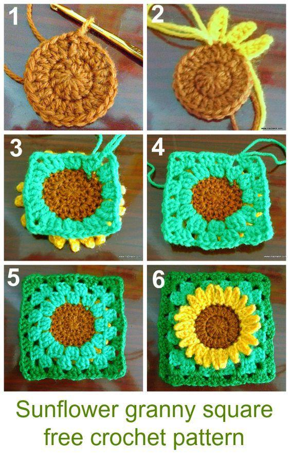 12 DIY Crochet Sunflower Pattern | Häkeln, Dekoration und Basteln