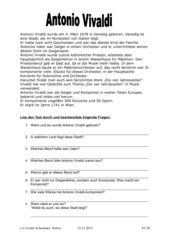 Resultado de imagen de antonio vivaldi arbeitsblatt grundschule | yo ...