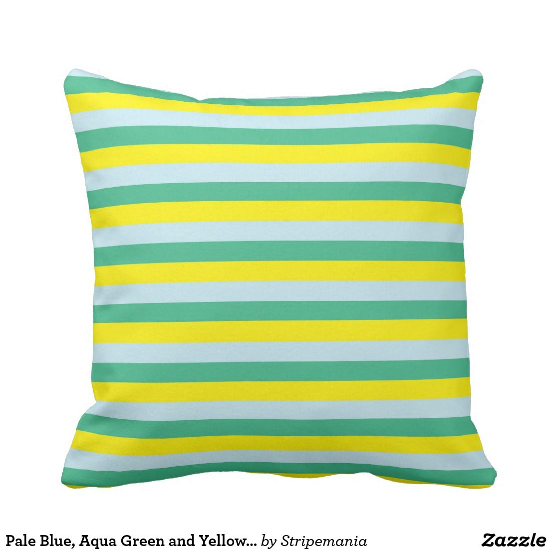 Pale blue aqua green and yellow stripes throw pillow zazzle