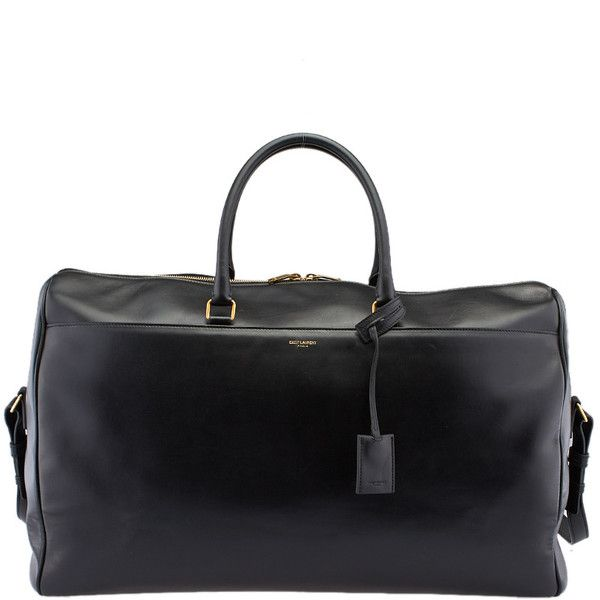 Pre-Owned Saint Laurent Black Leather Duffle Bag (€730) ❤ liked on Polyvore featuring bags and handbags