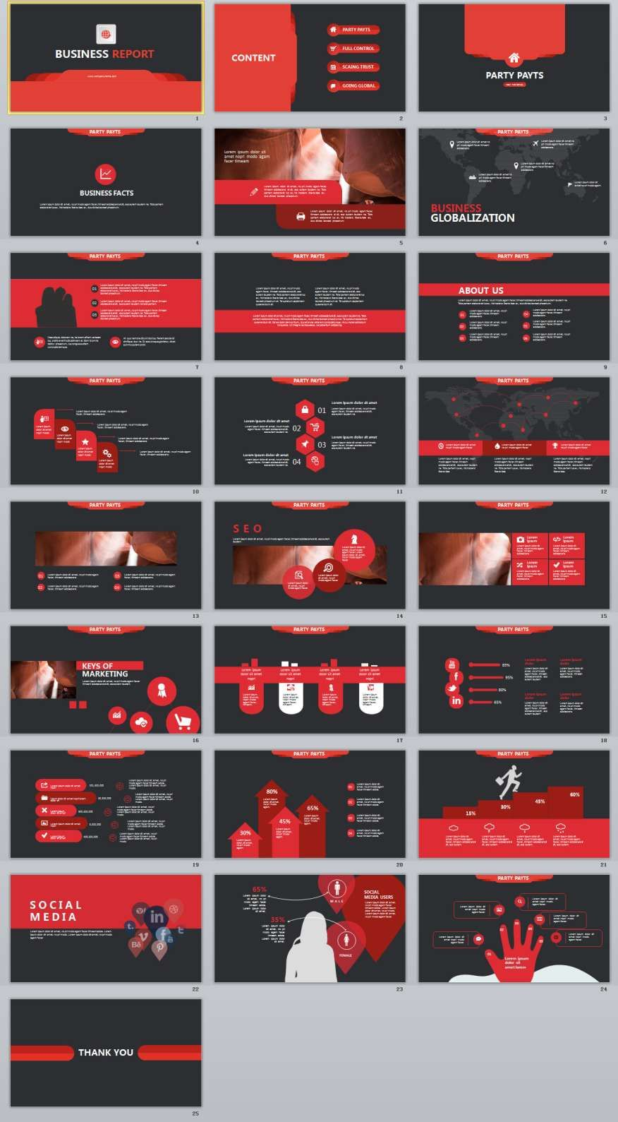 25+ Red Report PowerPoint Template | Template, Business company and ...