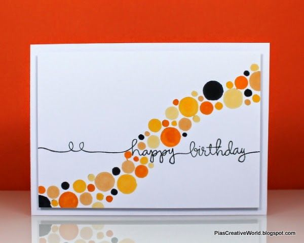 #SSSFAVE Birthday card liftet from a card found on Pinterest. Used a stencil and Promarkers to make the dots. Stamped sentiment is from Simon Says Stamp.