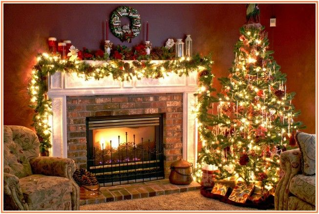 Indoor Christmas Decorations Fireplace Home Design And Decorating - Fireplace mantel christmas decorating ideas