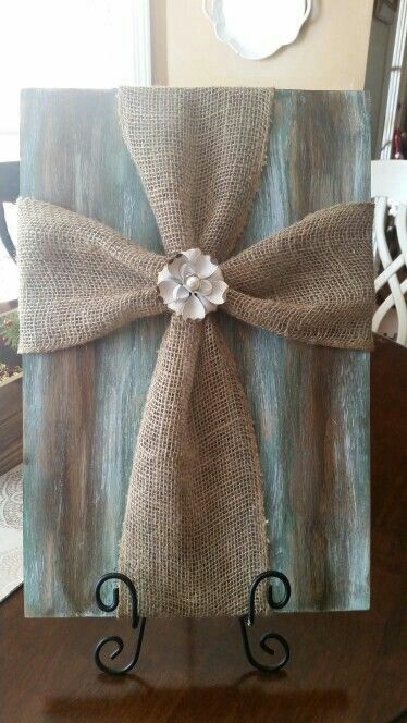 Cross - burlap on board. -   25 burlap crafts board