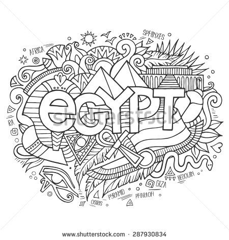 Egypt hand lettering and doodles elements background. Vector ...